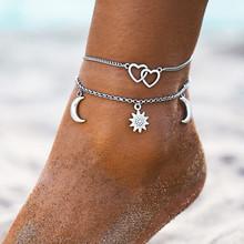 Винтажные браслеты на лодыжке для женщин, простые браслеты на ногу с сердцем, любовь для женщин, пляжные очаровательные аксессуары Boho Mujer, юв...(Китай)