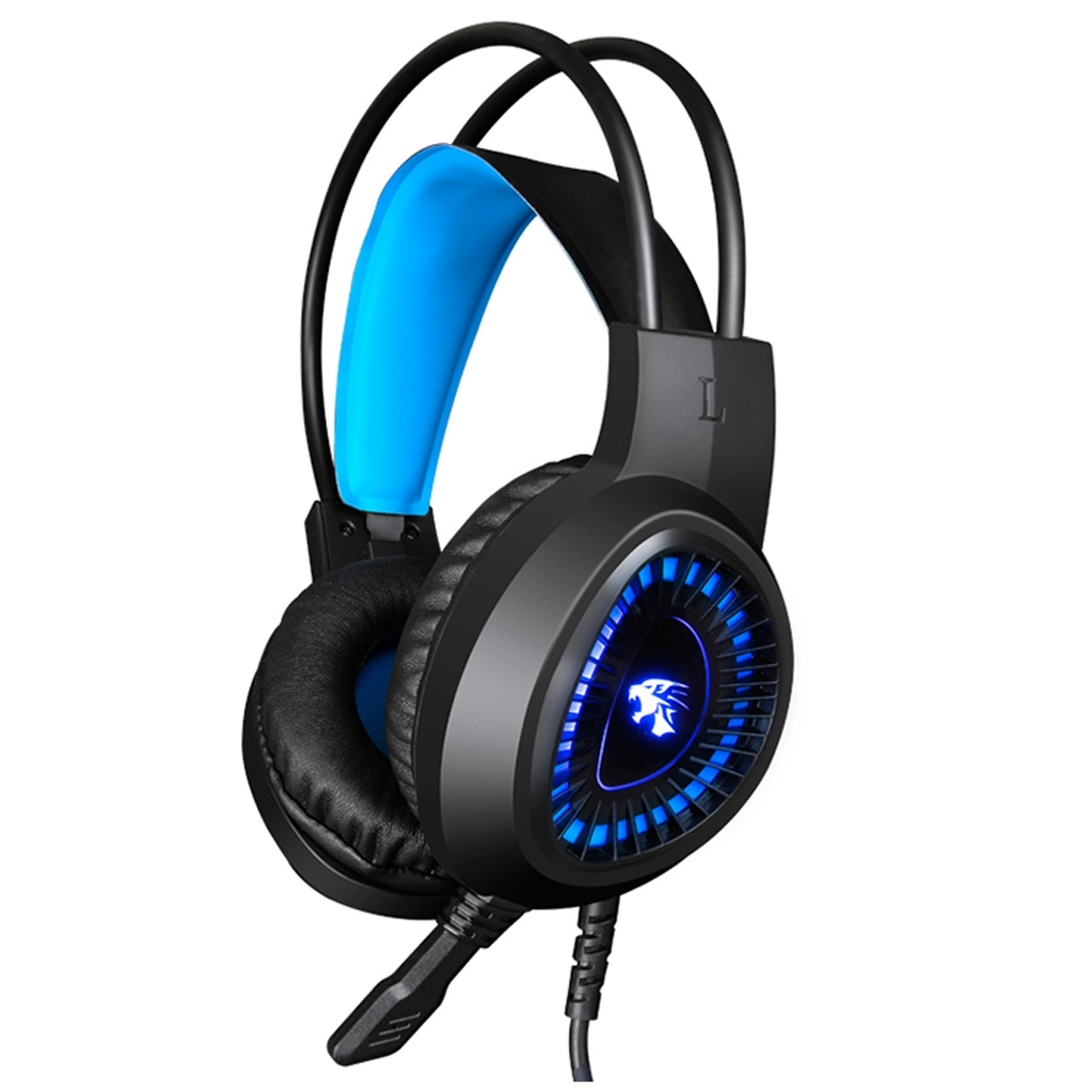 HAMTOD <strong>V1000</strong> Dual-3.5mm led light stereo pc gaming headphone player wired game headset(Blue)