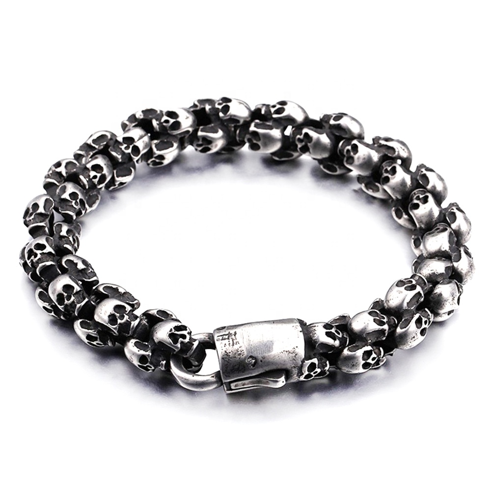 product-Stainless Steel Lion Head Clasp Bracelet, Men Beads Bracelet Accessories-BEYALY-img-1