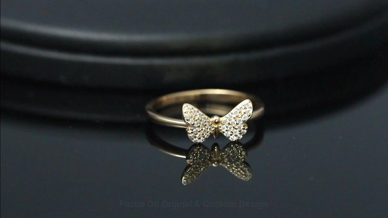 RINNTIN parmak yüzük moda kadınlar takı 2020 gerçek 925 ayar gümüş narin kelebek yüzük