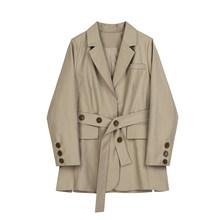 [EAM] Женский Бандаж на пуговицах цвета хаки, большой размер, Блейзер, новинка, с отворотом, длинный рукав, свободный крой, куртка, модная, весна...(Китай)