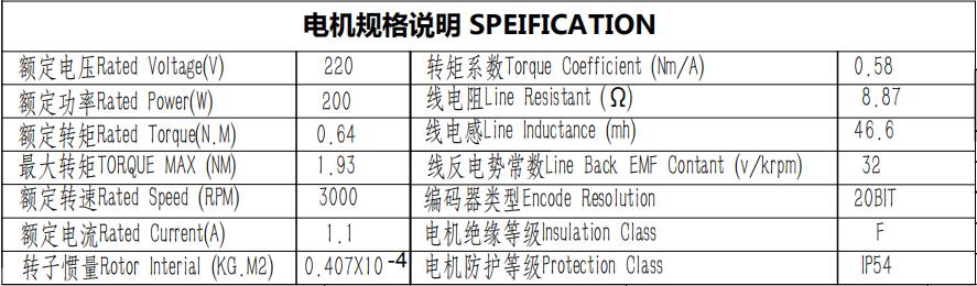 220V 3 phase 200W 3000rpm servo motor and driver 3000rpm ac motor
