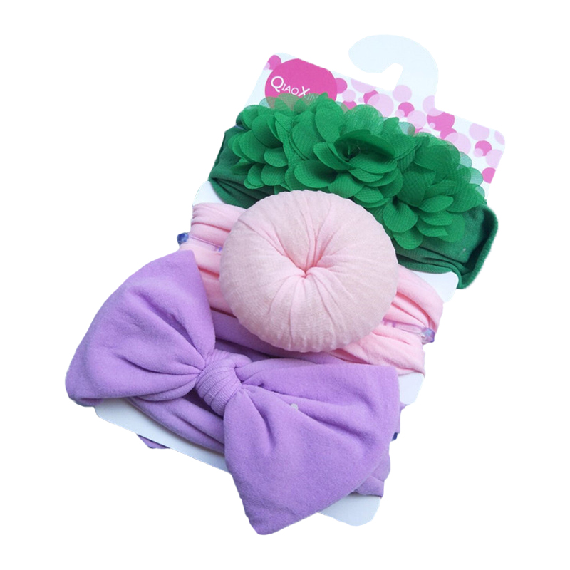 Toddler Elastic Soft Cotton Turban for kids head wrap headband velvet baby flower Donut Bow Wide hair band Accessories 3pcs/set