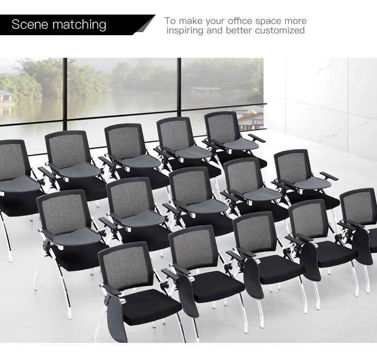 Wholesale conference PP structure foldable student training chair with writing pad