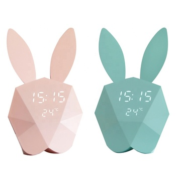 KH-CL078 Voice Control Rechargeable LED Display Temperature Bunny Ear Cute Rabbit Alarm Clock with Night Light