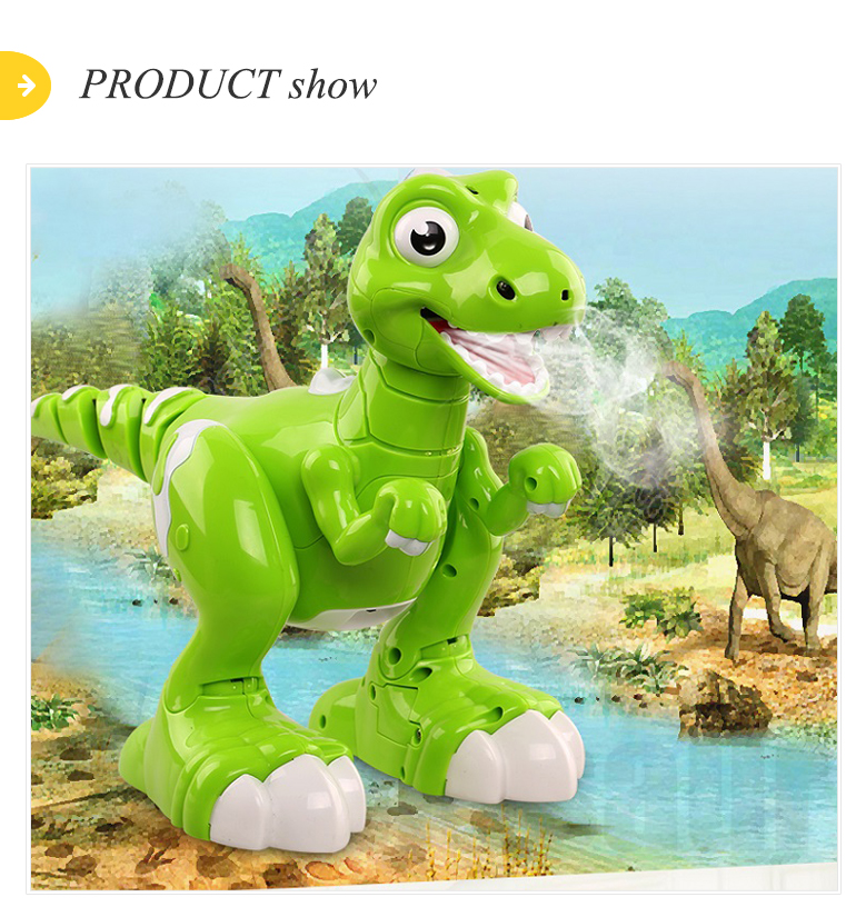 Sprays dance robot remote control walking dinosaur toy