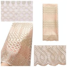 Кружевная ткань, расшитая бисером, в нигерийском стиле, 2020, Высококачественная сетчатая кружевная ткань, стразы, 5 ярдов, многоцветная гипюр...(Китай)