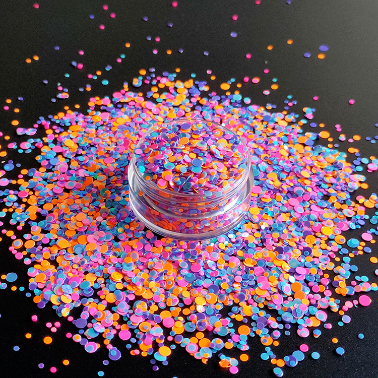 Factory Bulk Wholesale High Quality Resistant Solvent sparkle Dot Mixed Glitter for Nail Polish Frankening Scrapbooking