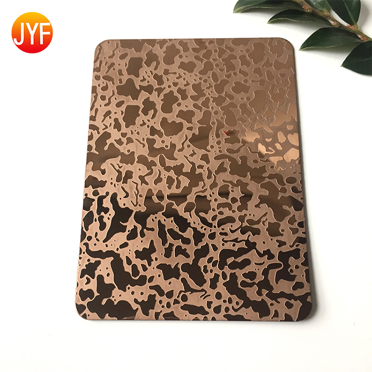 JYF021  304 Etched  Rose Gold Decorative Stainless Steel Sheet For Hotel Projects