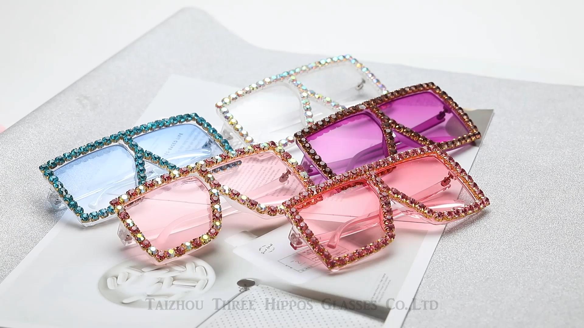 THREE HIPPOS New Arrivals Diamond Sunglasses  Fashionable Square Rhinestones Shades Oversize Beautiful Handmade Sun Glasses