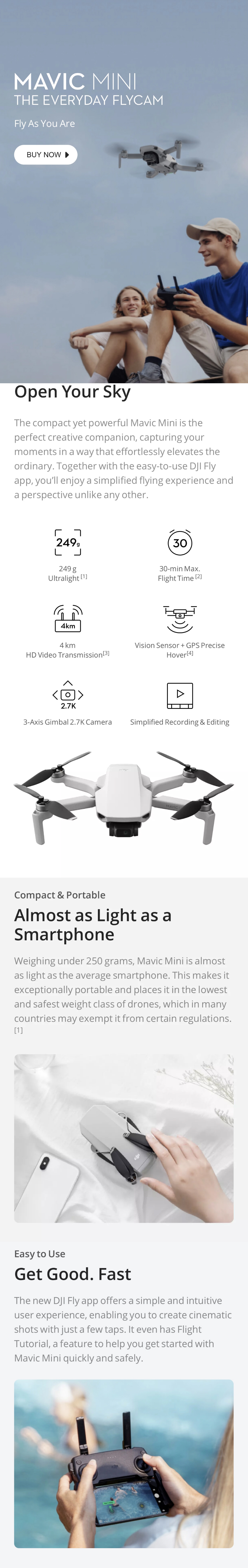 DJI Drone Mavic mini Fly daha Combo Ultralight ve katlanabilir mini drone