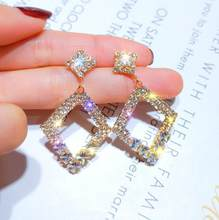Женские серьги-капельки BYSPT, серые овальные серьги-гвоздики с кристаллами, Ювелирное Украшение для пирсинга, гвоздик капля(Китай)