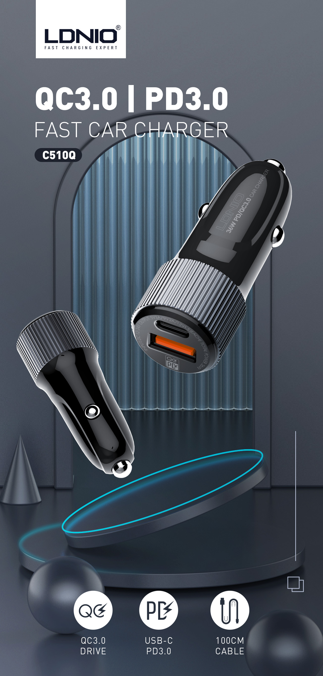 LDNIO New item C510Q 30W QC4.0 + PD in-car charger USB C Charger