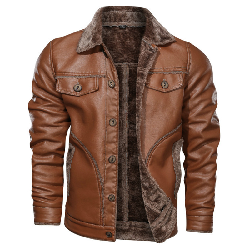 New Arrivals Faux Fur Men Winter Thickening Warm Jaket Turn Down Collar Black Brown Motorcycle Leather Jackets