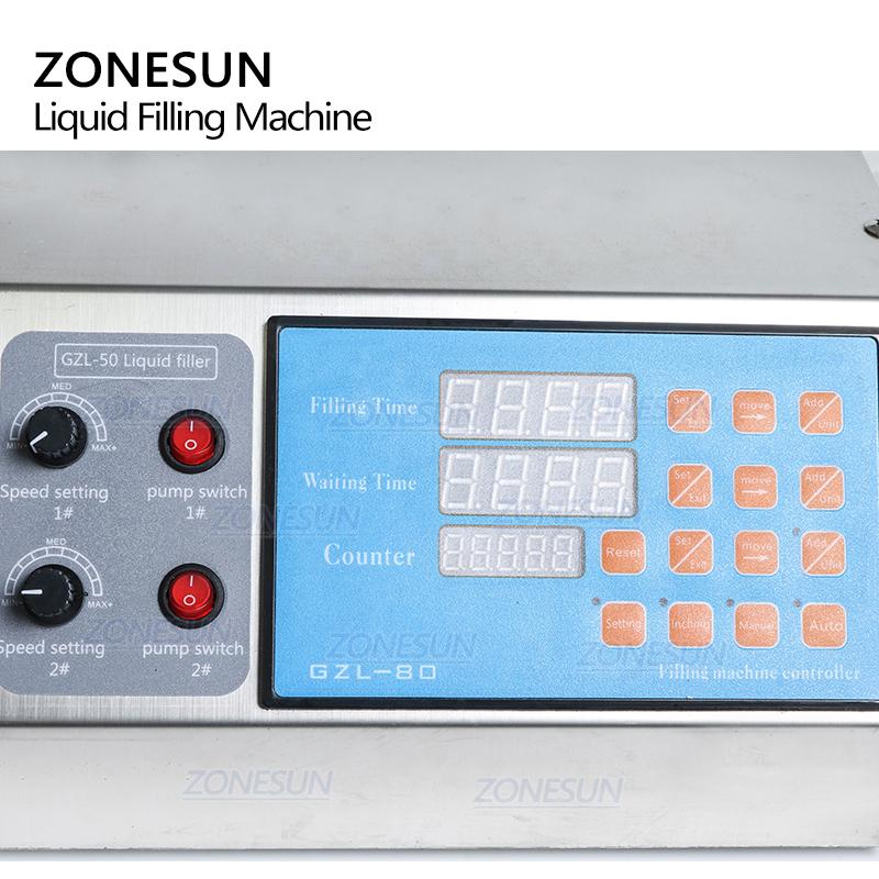 ZONESUN 2 Heads Semi Automatic Diaphragm Pump Liquid Filling Machine For Liquid Perfume Water Juice Essential Oil