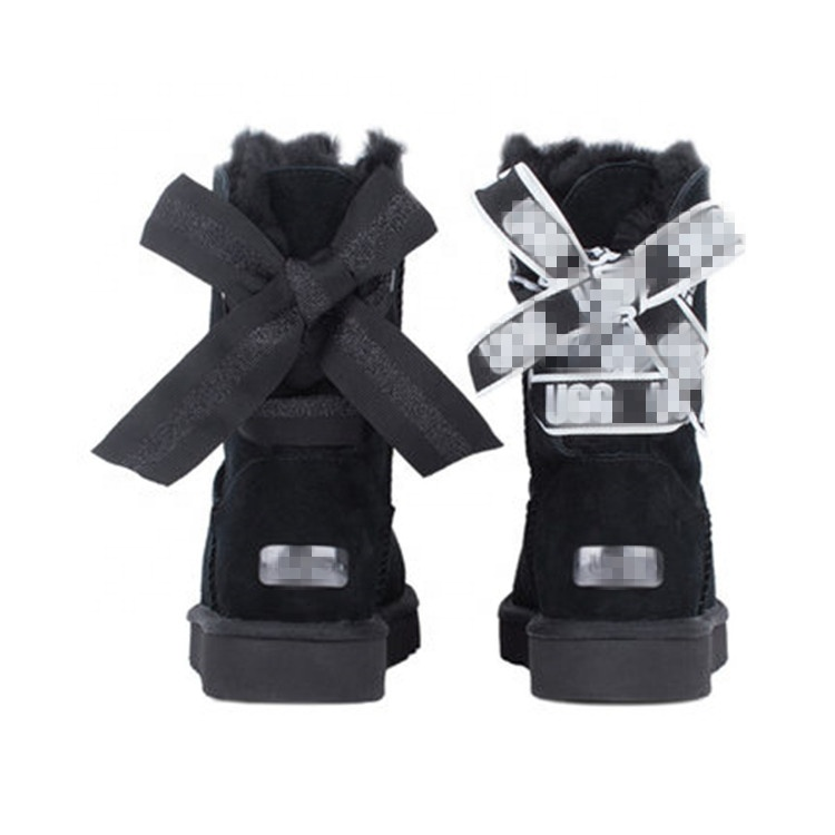 2020 New Customized Genuine Sheep Fur Women Snow Boots China Classic shoes ladies Winter Ankle Boot with silk ribbon bow