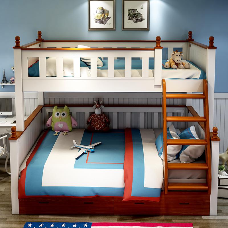 عالية الجودة الأطفال أطقم أثاث غرفة النوم متعددة الوظائف الطفل نمط البحر الأبيض المتوسط الصلبة سرير خشبي دورين مزود بطاولة للأطفال