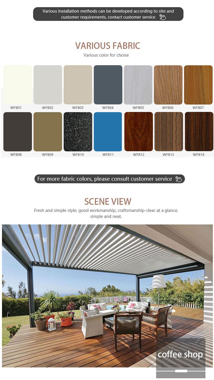 Moderne adaptée aux besoins du client extérieur toit à persiennes pare-soleil étanche système bioclimatique motorisé pergola aluminium