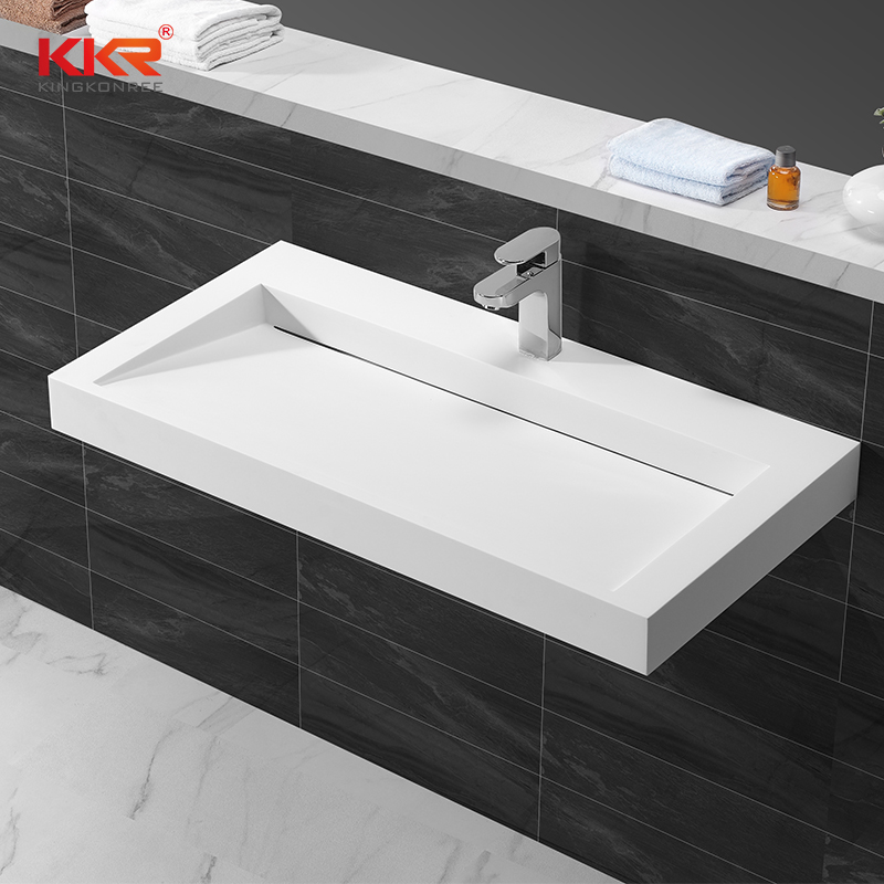 Acrílico superficie sólida piedra Artificial muebles de baño de pared lavabo