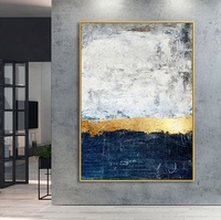 Abstract gold blue art canvas painting acrylic paintings on canvas white large painting wall pictures wall art home decor