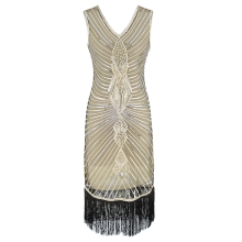 Ecoparty 20s 1920s Flapper Kleid Gatsby Charleston Cocktail Party Prom Abend Langes Kleid
