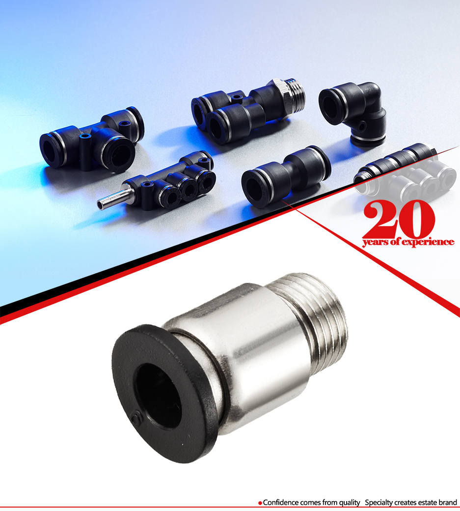 POC china quick pneumatic connection push pipe connector,Round Male Straight air Fitting