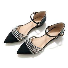 Модная обувь на плоской подошве с ремешком на щиколотке; женские сандалии с жемчугом в богемном стиле для стриптиза; роскошная дизайнерская...(Китай)