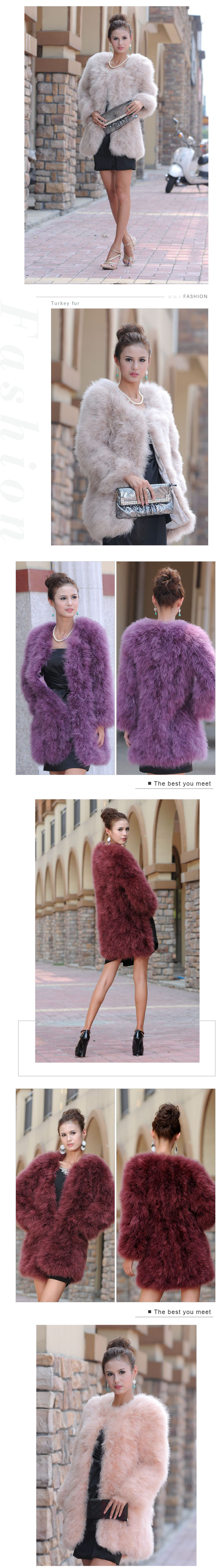fashion fluffy turkey feather fur coat winter purple genuine fur coat women
