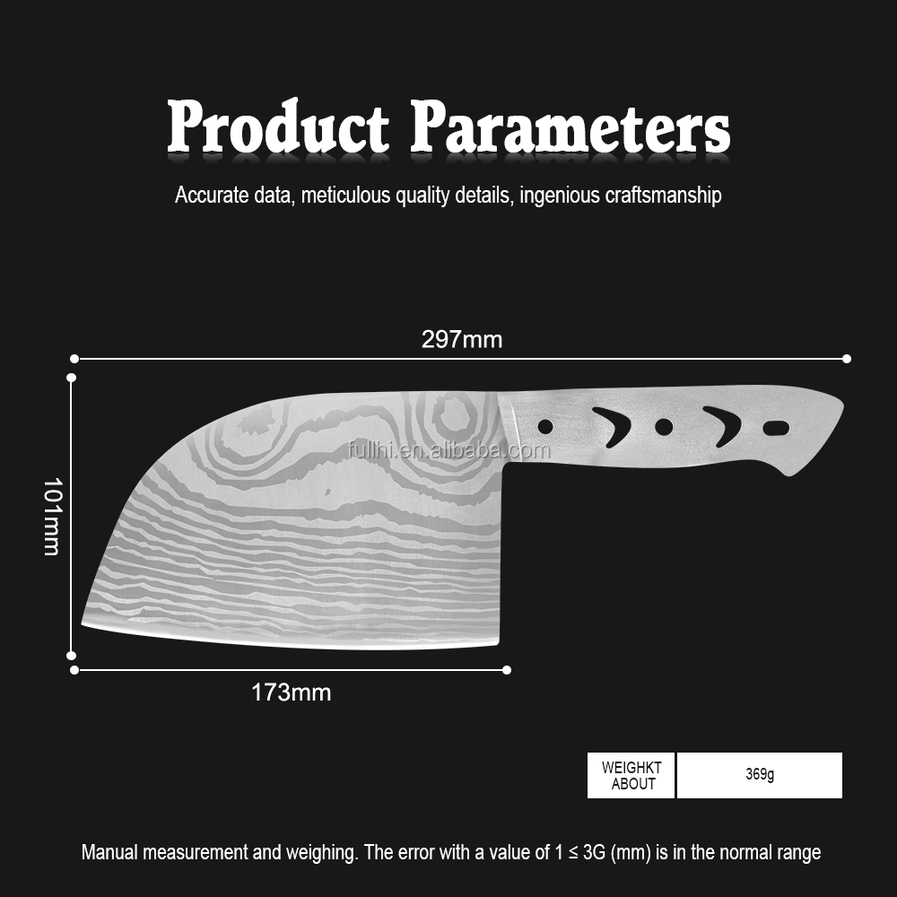 6.65 inch Butcher Knife Accessories DIV Stainless Steel Blade Classic Damascus Laser Pattern Knife Blade Blank without Handles