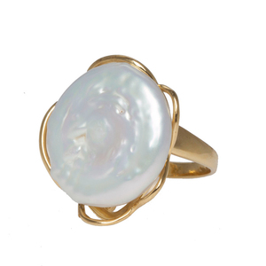 China Produce Fashion 10G Baroque Button Semi Silver Pearl Ring With Low Price