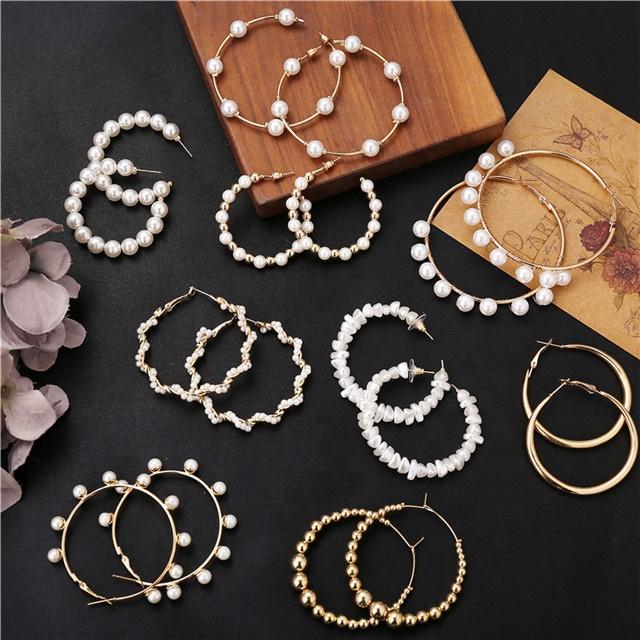 2020 Big Hoop Circle Twist Pearl Earrings For Women Fashion Tassel Drop Earrings Classic Hot Selling Jewelry
