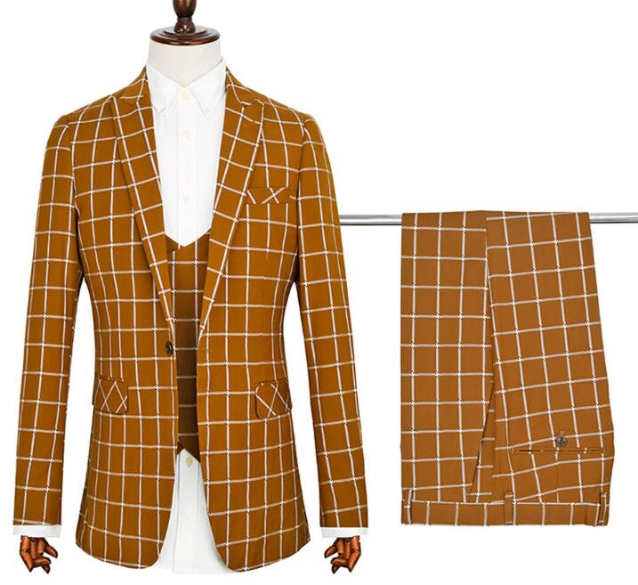 Custom <strong>formal</strong> brown plaid men business <strong>suit</strong>