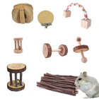 Hamster Chew Toys Natural Wooden Play Toy Exercise Bell Roller Teeth Care Molar Toy for Bunny Rabbits Rats Gerbils