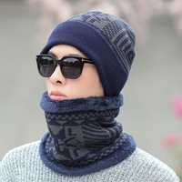 N514 New custom thick 2 pieces scarf hat winter autumn comfortable knitted scarf hat glove sets for men