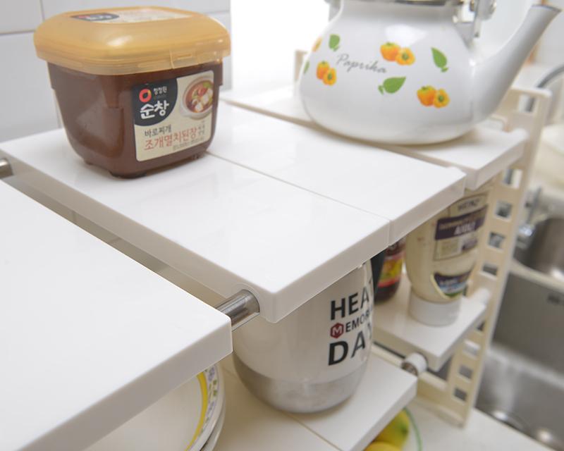 2019 Popolare più basso lavello da cucina in plastica cremagliera 2 Fila Espandibile sotto il lavello scaffale organizzatore di immagazzinaggio di plastica per la casa
