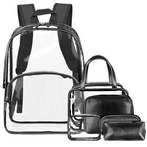 2019 hot sale waterproof PVC fashion clear backpack school bag set for outdoor travel