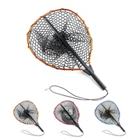 40*46cm telescopic aluminum alloy fly fishing rubber landing net