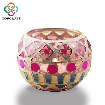 Hot Sale Handcrafted Mosaic Tea light Candle Glass Candle Holder For Bars Wedding Home Decoration
