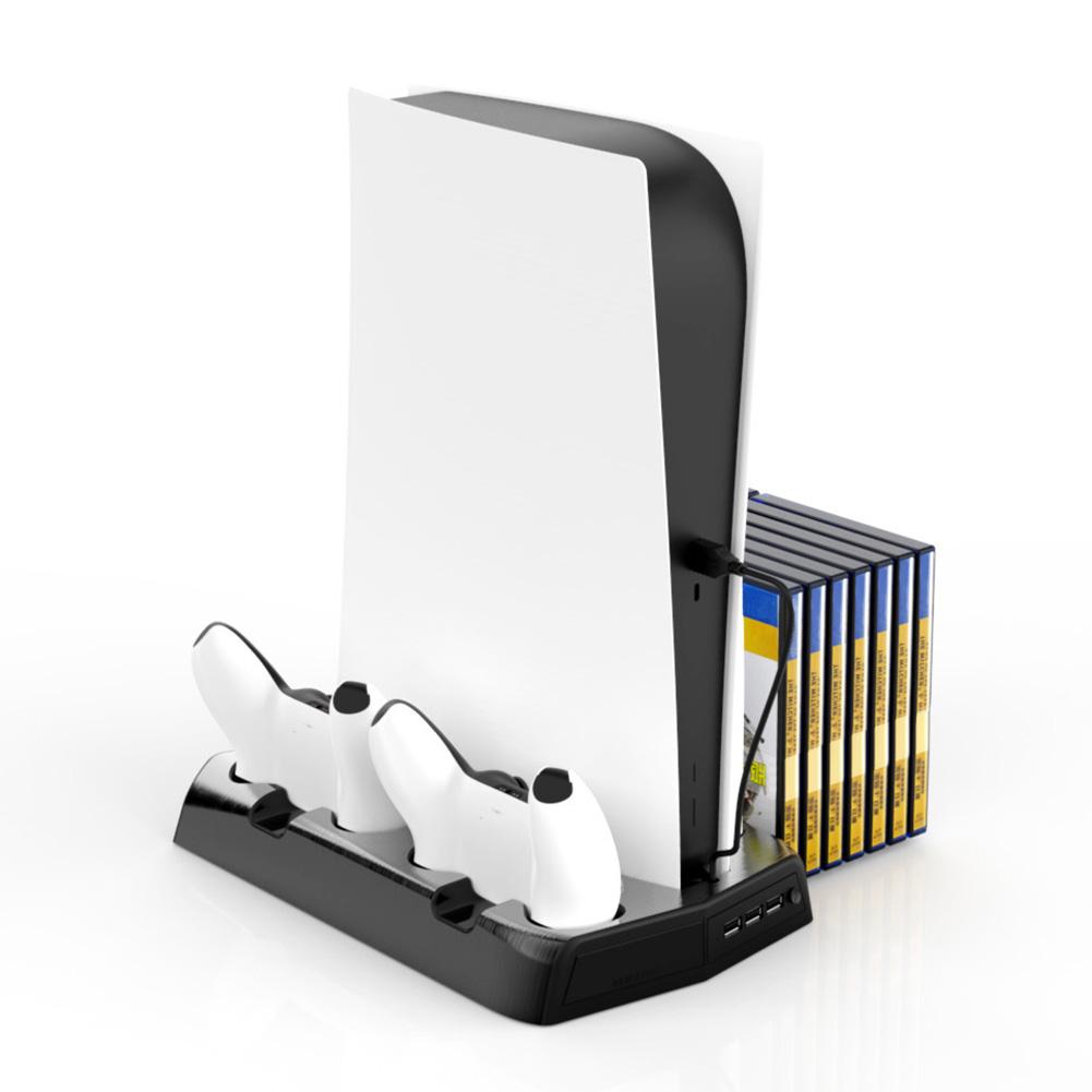Вертикальная подставка PS5 для консоли, кулер с двойной зарядкой для контроллеров PlayStation 5