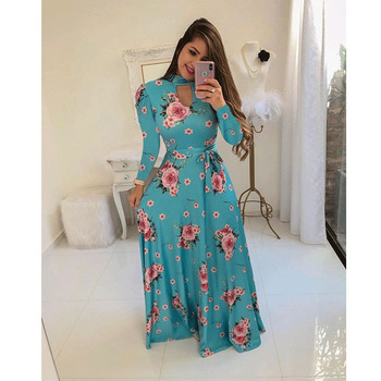Modern Stylish Woman Clothing Ladies Floral Print Long Maxi Dress