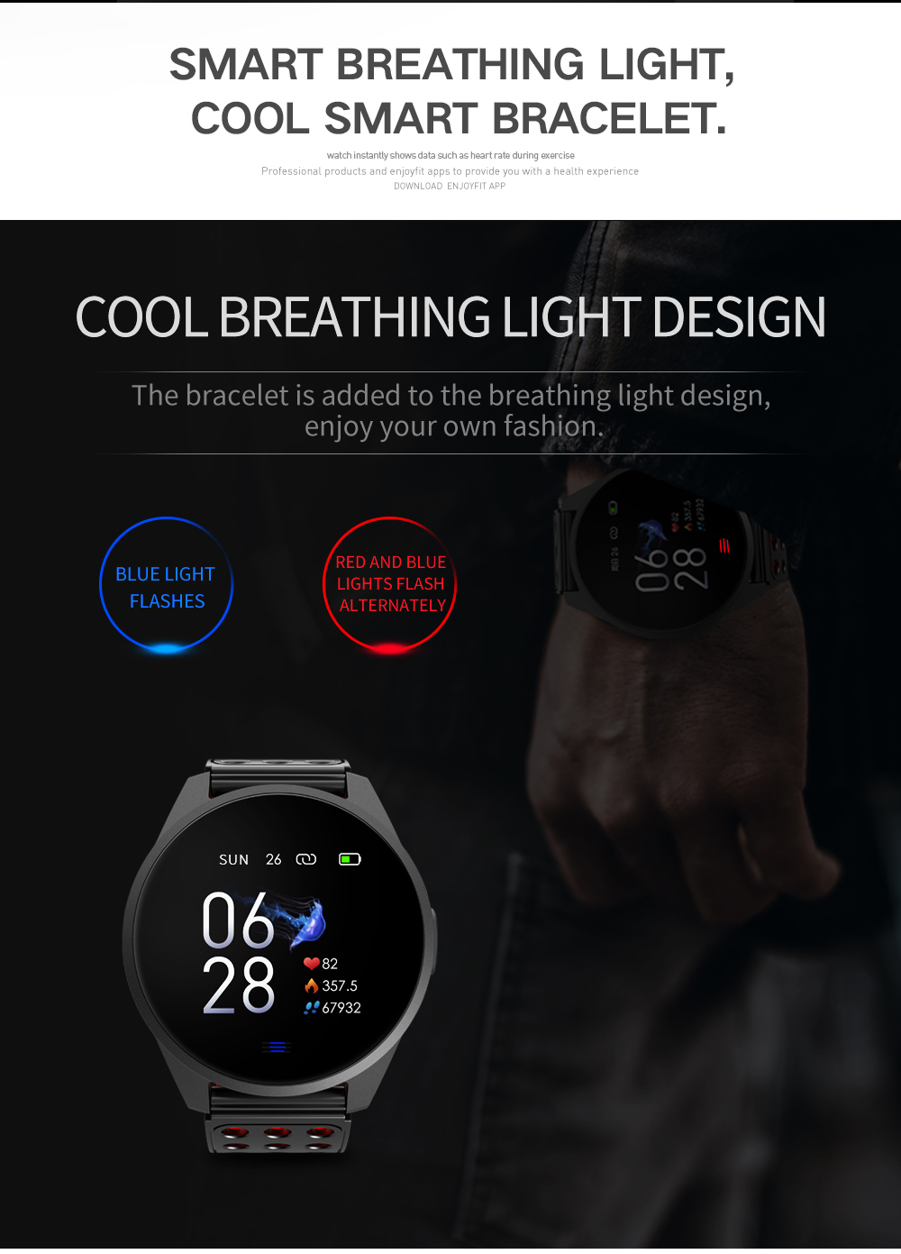 CK20 Health fitness tracker Sport Bracelet IP68 Waterproof smart Wristband with Heart Rate Sleep Monitoring