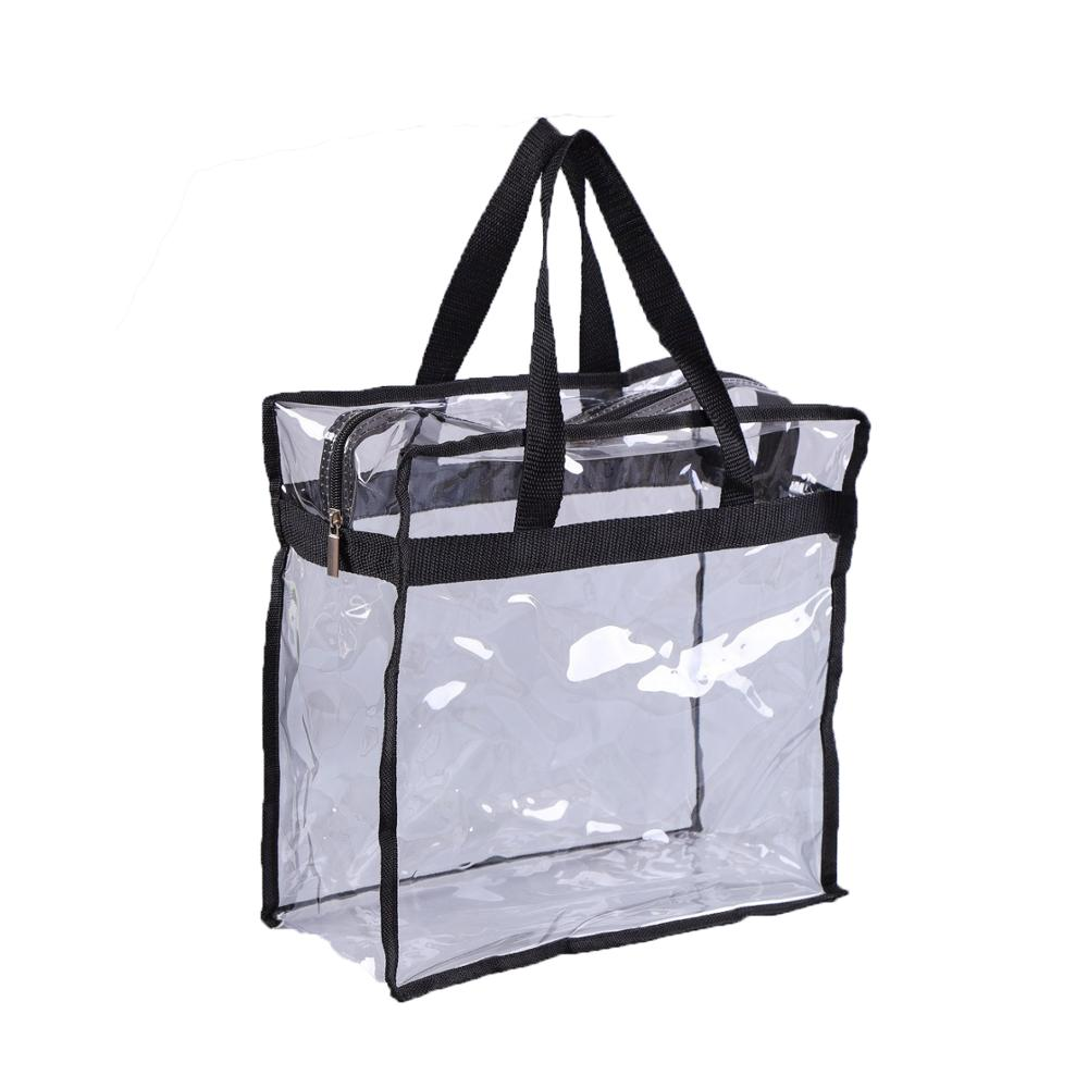 Custom Transparent Clear PVC Zipper With Handles Travel Beach Cosmetic Storage Shopping Tote Bag