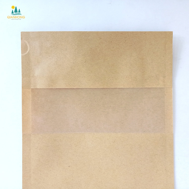 2020 Hot-sale Square Block Flat Bottom Gusset Coffee Bean Tin Tie Dessert Kraft Paper Bag With Window