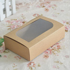 Macaron Kraft Paper Brown Packaging Box OEM Factory Kraft Paper Baking Food Storage Brown Box with Clear Window for Cookies Macaron Bread Packing Party Gift