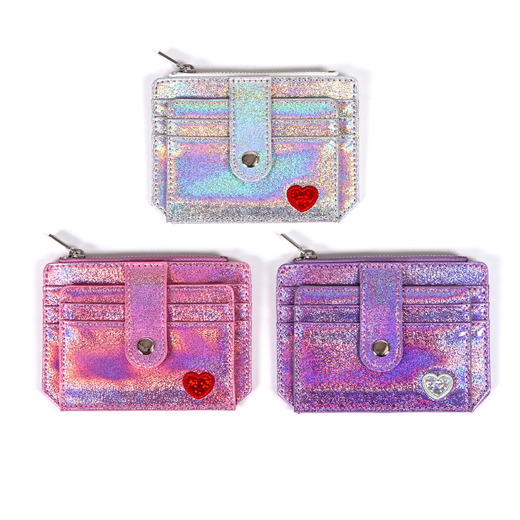 Bank card case pu leather coin purse mini ladies laser wallet