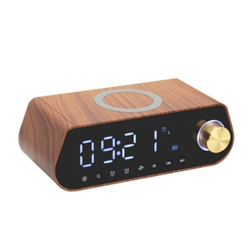 Leadstar Portable Wireless Charging Digital LED Wooden Alarm Clock Radio 10W QI USB Phone Charge TF FM