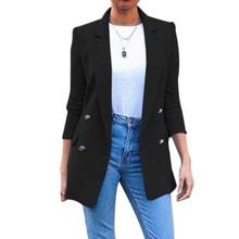 Женский пиджак, длинный однотонный пиджак с отложным воротником для офиса, повседневная женская верхняя одежда, новинка 2019(Китай)