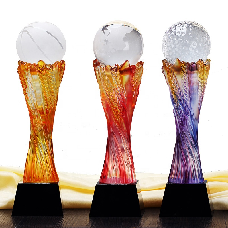 DILU Personalized Golf Ball Glass Award K9 Crystal Golf Trophy