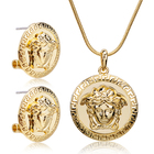 Sets Set Charare Gold Plated Zinc Alloy Coin Round Necklace Earrings Jewelry Sets