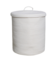 "Cotton Rope Storage Basket with Lid and Handles 15"" x 13"" for Nursery Laundry"